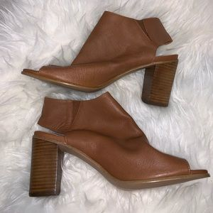 Steve Madden open toe booties 9.5 Brown